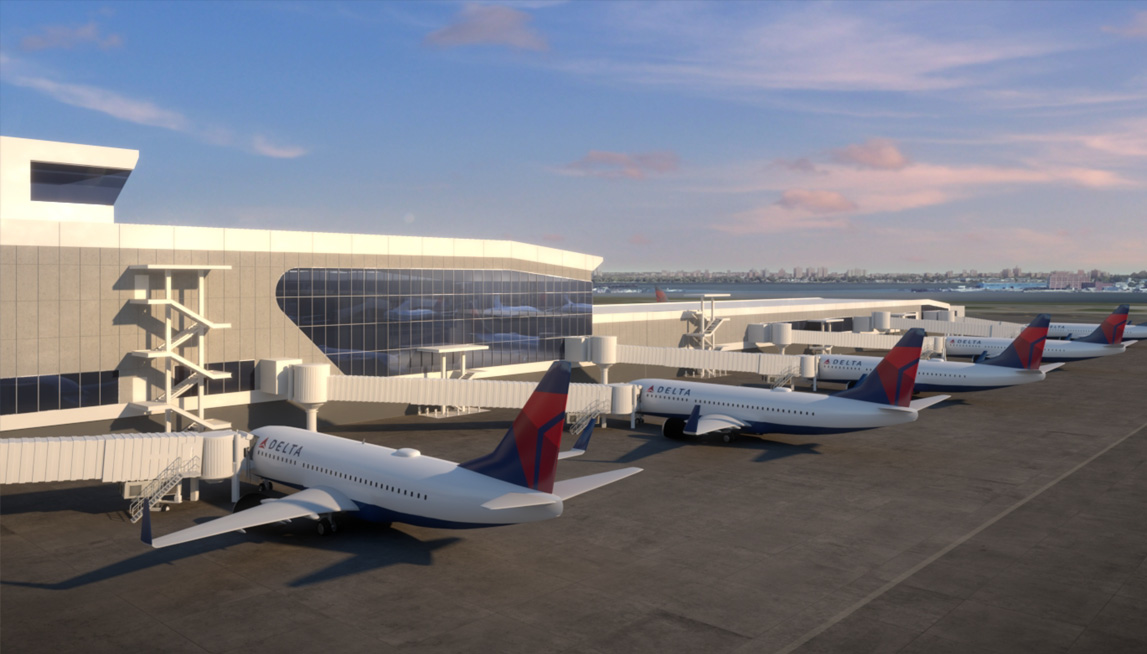 Rendering of Delta's new terminal at LGA