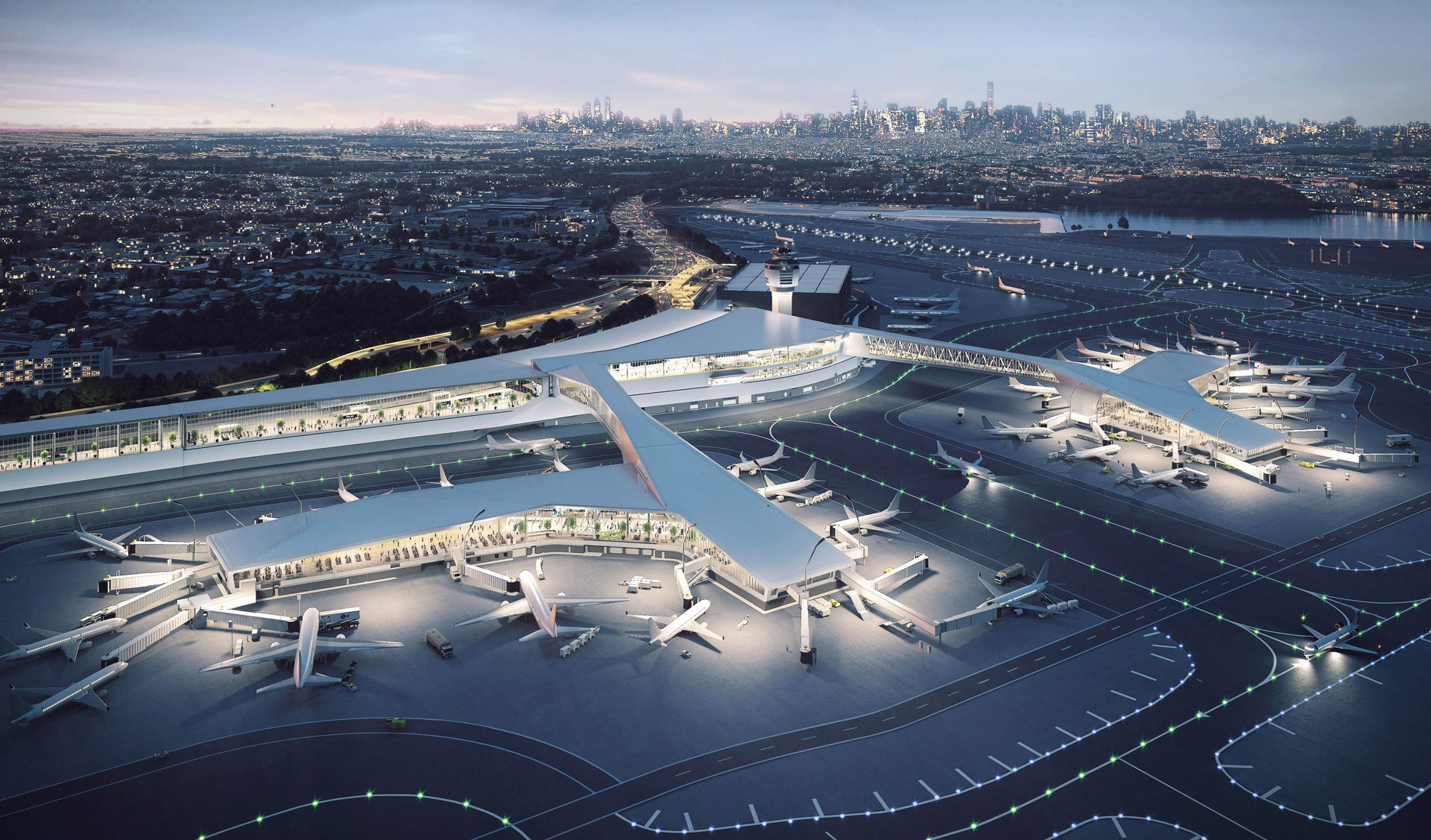 Rendering of nighttime aerial view of new Terminal B at LGA