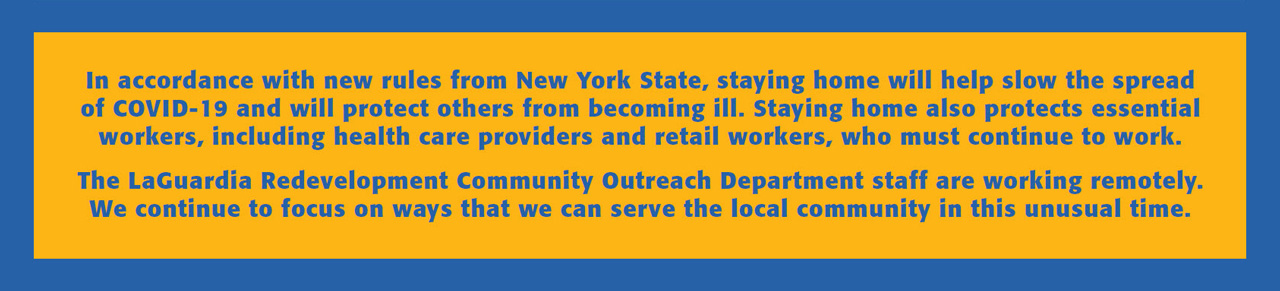LGA Redevelopment Community Outreach COVID-19 Note